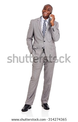 happy african businessman talking on mobile phone isolated on white - stock photo
