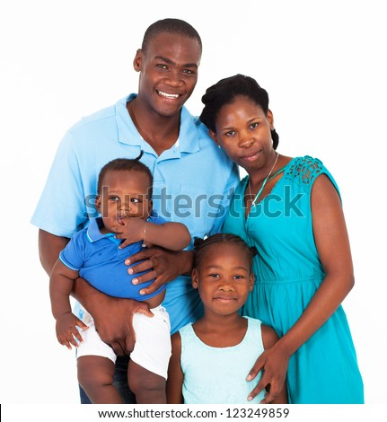 happy african family group portrait on white - stock photo