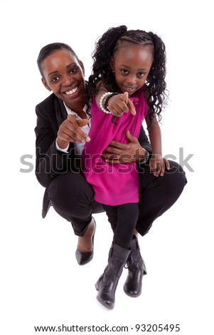 Happy african mother with her daughter, isolated on white background - stock photo