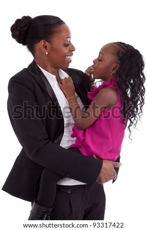 Happy african mother with her daughter, isolated on white background