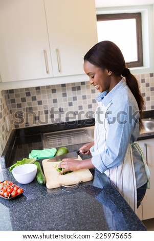 happy african woman chopping vegetables in the kitchen - stock photo