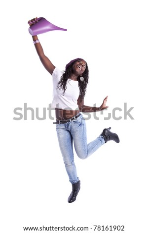 Happy african woman dancing with a watering can (isolated on white) - stock photo
