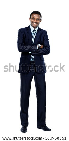 Happy afro-american businessman looking at the camera - stock photo