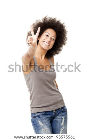 Happy Afro-American young woman isolated on white background - stock photo