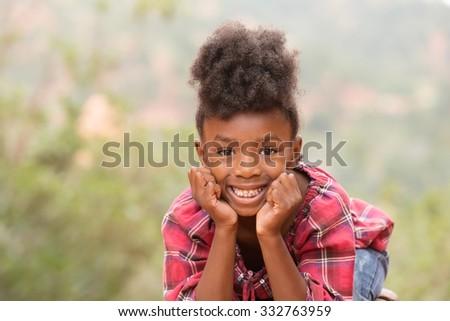 Happy Afro Child - stock photo