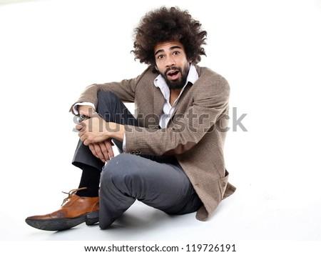 Happy afro man - stock photo