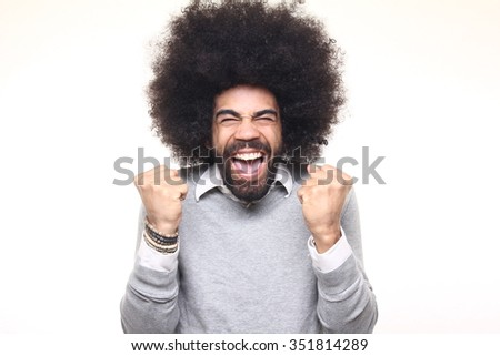 Happy afro man - stock photo
