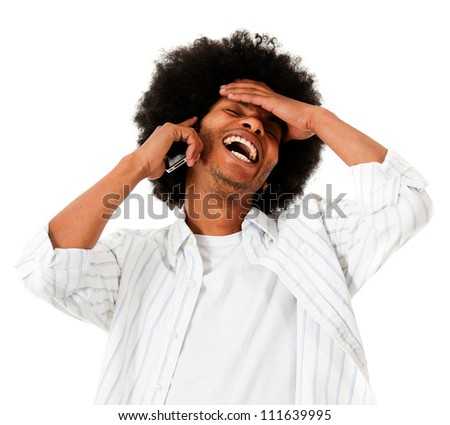 Happy afro man talking on the phone - isolated over a white background - stock photo