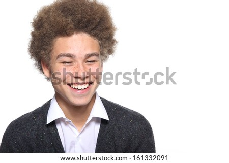 Happy afro young man
