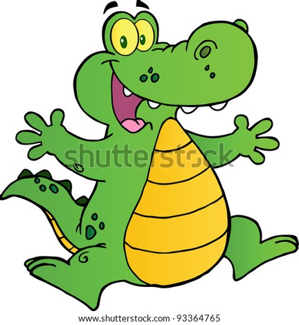 Happy Alligator Jumping - stock photo