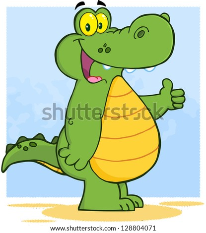 Happy Alligator Or Crocodile Showing Thumbs Up. Raster Illustration.Vector Version Also Available In Portfolio.