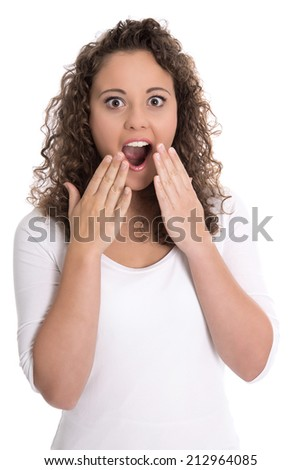 Happy amazed isolated young woman in white with open mouth. - stock photo