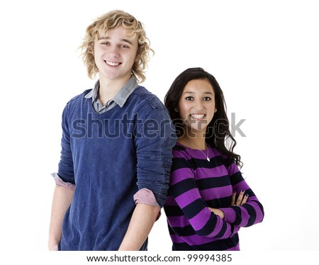 happy and attractive teen boy and girl
