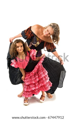 Happy and beautiful Girls dancing on white . - stock photo