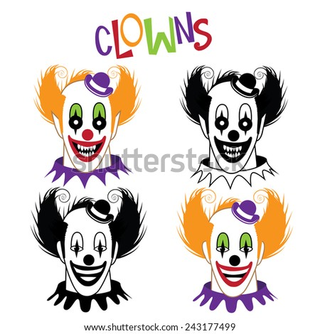 Happy and creepy clown icon collection stock illustration - stock photo
