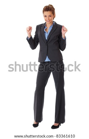 happy and ecstatic businesswoman, isolated on white - stock photo