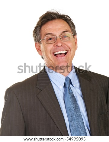 Happy and excited middle age businessman - stock photo
