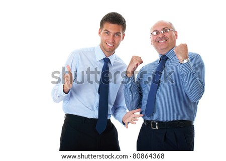 happy and excited senior and young businessman, isolated on white