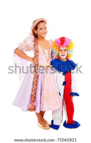 Happy and funny children with costumes on white background - stock photo