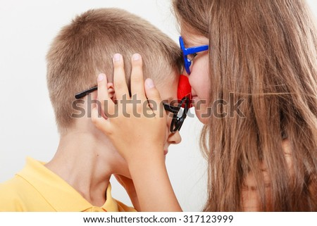 Happy and funny young siblings. Children playing with each other. - stock photo