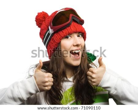 Happy and good skier. - stock photo