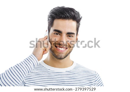Happy and handsome young man talking at phone, isolated on white background - stock photo