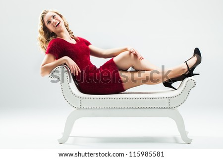 Happy and having a good laugh during her break. - stock photo