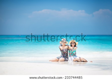 Happy and love on the beach at Koh Lipe of Andaman sea, Beautiful Island Beach, southern of Thailand - stock photo