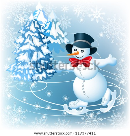 Happy and merry Snowman in a hat on a skating rink - stock photo