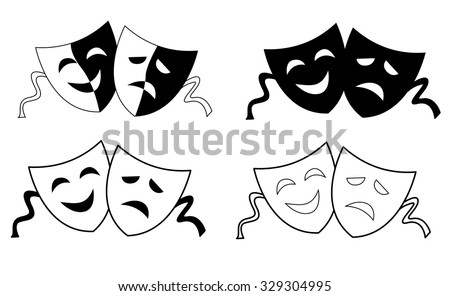 Happy and sad theater masks / faces silhouette isolated on white background  - stock photo
