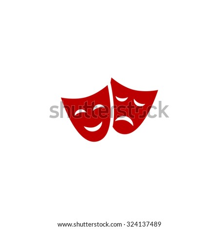 Happy and sad Theater masks. Red flat icon. Illustration symbol on white background