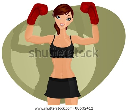 Happy and sexy boxer woman - stock photo