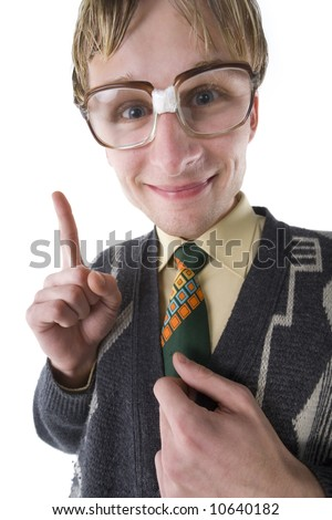 Happy and smart nerd with funny glasses. Smiling and looking at camera. Front view, white background - stock photo