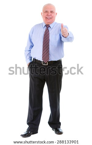 Happy and smile with white teeth of old mature businessman in shirt and tie, raised his thumb up, isolated on white background. Positive human emotion, facial expression - stock photo