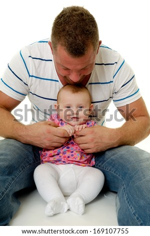 Happy and smiling baby and father. The baby 3 month old. Isolated on a white background. - stock photo