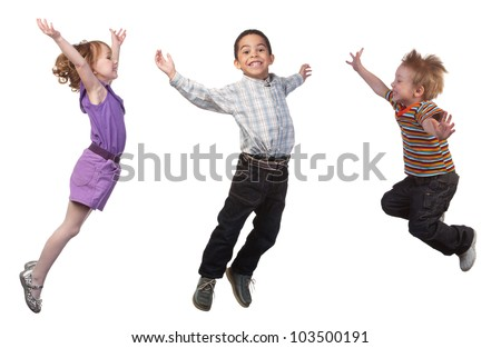 Happy and smiling children jumping, over white - stock photo