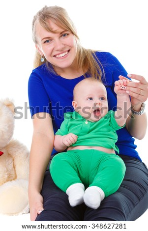 Happy and smiling Young mother and son, mom playing With Their Baby kid boy 4 month old. Isolated on White Background. Concept happy family - stock photo
