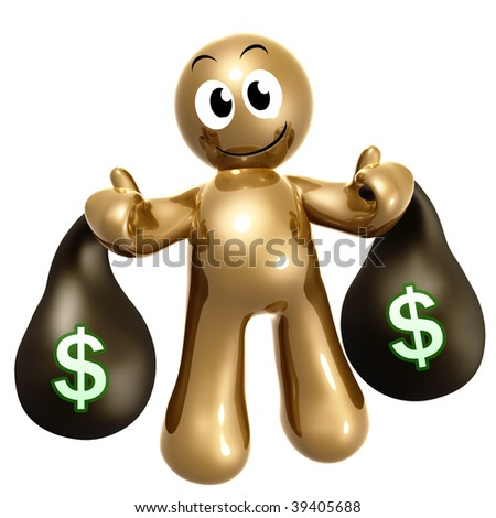 Happy and wealthy 3d icon with money bag