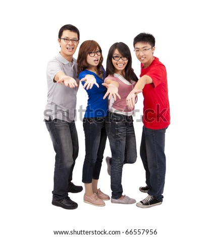 Happy and Young friends laughing together - stock photo