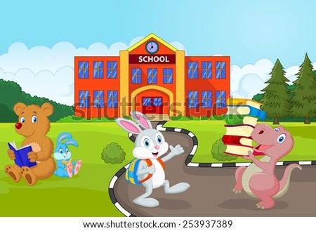 Happy animal going to school - stock photo