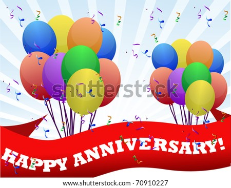 happy anniversary balloons and banner illustration design - stock photo