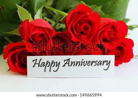 Happy anniversary card red roses stock photo edit now shutterstock