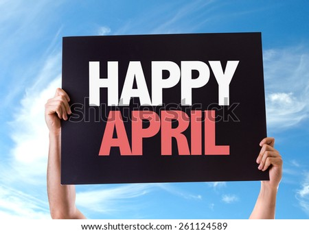 Happy April card with sky background - stock photo