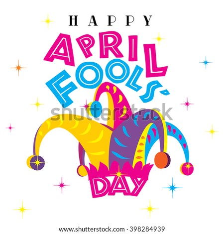 Happy April Fools Day on a white isolated background - stock photo