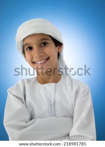 Happy Arabic kid posing - stock photo