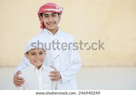 Happy Arabic kids - stock photo