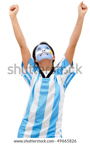 Happy Argentinean football fan isolated over a white background - stock photo