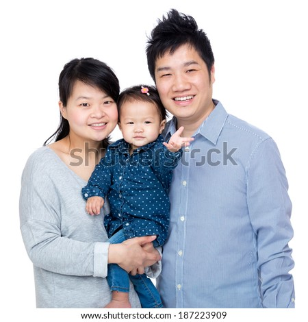 Happy asia family with father, mother and their baby daughter - stock photo