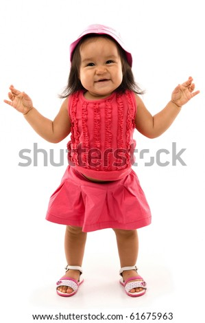 Happy asian baby with crossed fingers on white background . - stock photo