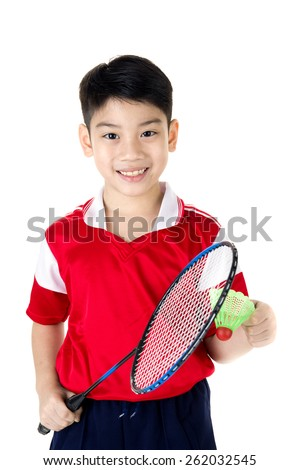 Happy Asian boy in badminton action isolate on white background  - stock photo